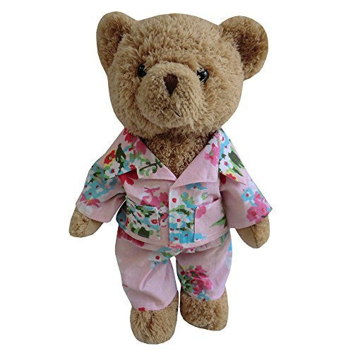TEDDY BEAR WITH PINK FLORAL PJ'S - hanrattycraftsgifts.co.uk