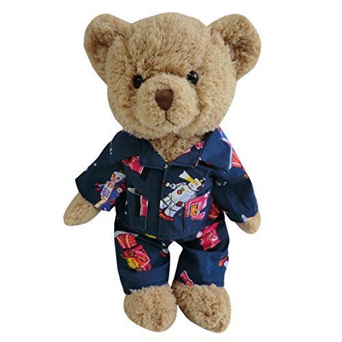 TEDDY BEAR WITH ROBOT PJ'S - hanrattycraftsgifts.co.uk