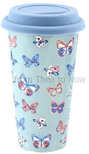 Insulated Double Walled Travel Mug Ceramic Vintage Butterfly (Duck Egg Blue) - hanrattycraftsgifts.co.uk