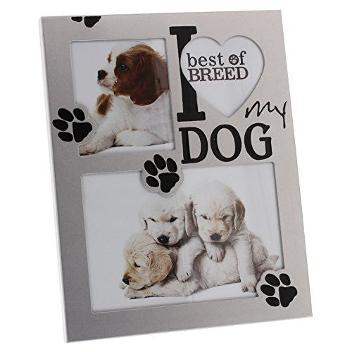 I love my Dog Brushed Aluminium Photo Frame Juliana Best of Breed Collection - hanrattycraftsgifts.co.uk