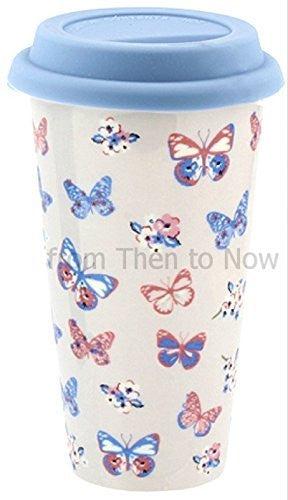Insulated Double Walled Travel Mug Ceramic Vintage Butterfly (Cream Eggshell)