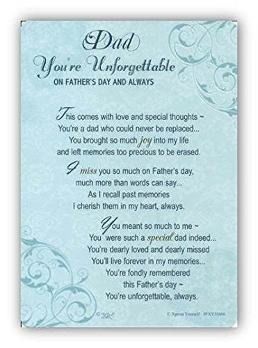 "Xpress Yourself Dad You're Unforgettable Father's Day Graveside Memorial Card & Holder 5.75"" x 4"""