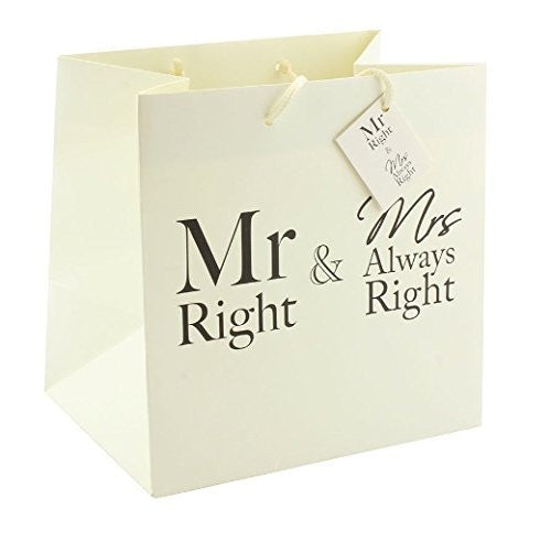 Mr &Mrs always right Large bag 33 x 17 x 33cm - hanrattycraftsgifts.co.uk