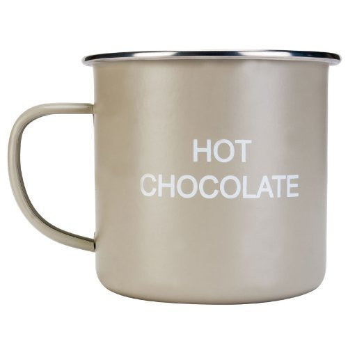 New Pale Green Home Sweet Home Enamelled Tin Hot Chocolate Vintage Retro Mug - hanrattycraftsgifts.co.uk