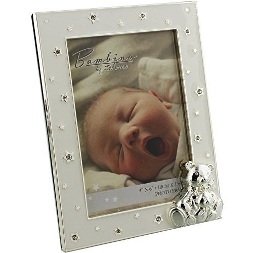 "Bambino Silverplated Teddy & Star Photo Frame 4"" x 6"" - hanrattycraftsgifts.co.uk"