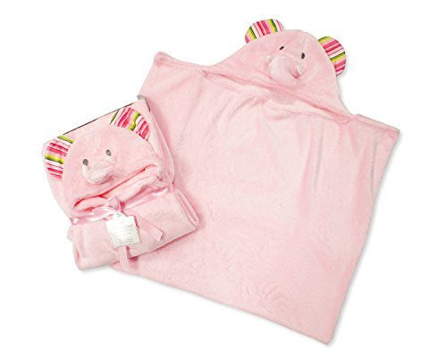 Supersoft Superior Quality Velour Baby Hooded Wrap - Pink Elephant Design