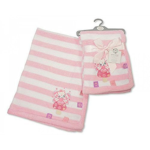 Beautiful Soft Snuggly Microfleece Baby Blanket in Pink Stripes with Applique Kitten & Taggs Design - hanrattycraftsgifts.co.uk
