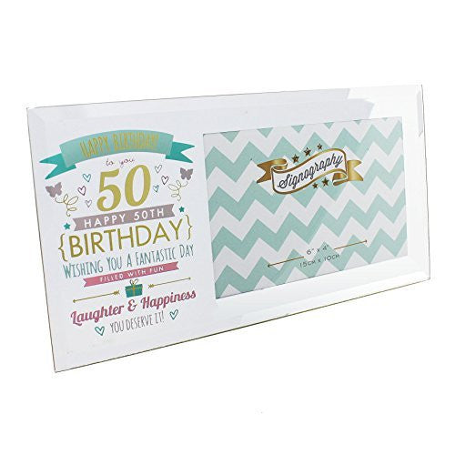 "Happy 50th Birthday Glass Photo Frame - Holds one 6"" x 4"" photo - hanrattycraftsgifts.co.uk"