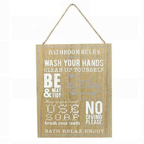 Wooden Sign: Bathroom Rules - hanrattycraftsgifts.co.uk