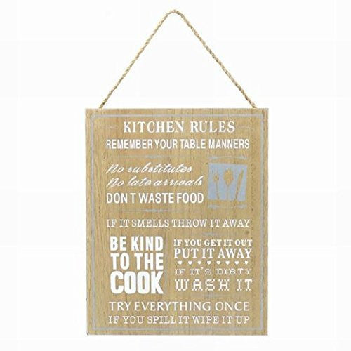 Plaque - Wooden Kitchen Rules - hanrattycraftsgifts.co.uk