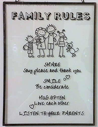 "Home Works-Placca da muro in vetro, motivo: ""Family Rules"", stile Vintage, per porta - hanrattycraftsgifts.co.uk"