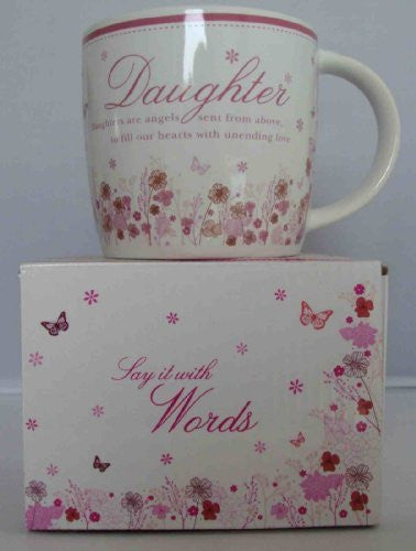 """Daughter"" Pink Floral Sentimental Ceramic Mug - Comes with Presentation Box - hanrattycraftsgifts.co.uk"