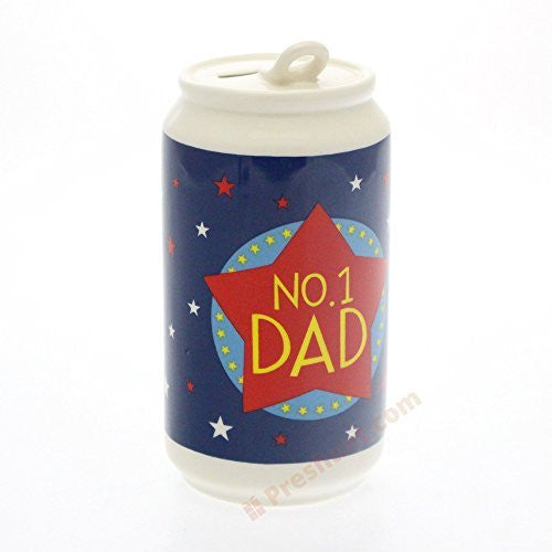 Leonardo Collection - 'No.1 Dad' - Beer can shaped ceramic money box - hanrattycraftsgifts.co.uk