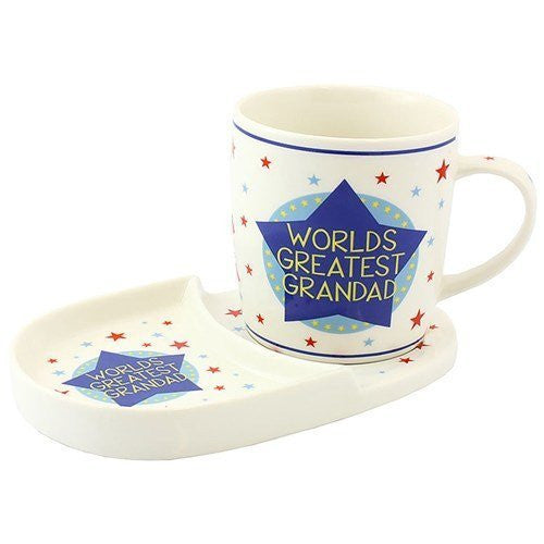 World's Greatest Grandad Fine China Snack Set - Mug and Biscuit Nibbles Tray