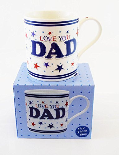 Love You Dad Fathers Day Daddy Birthday Tea Coffee Cup Mug Star Cute Mens Gift - hanrattycraftsgifts.co.uk