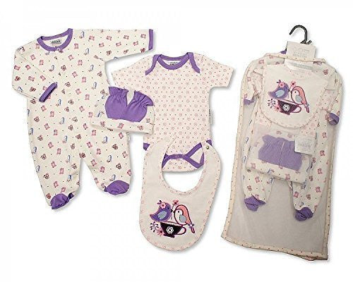 Brand New Baby Girl Jersey Cotton 5 Piece Clothing Gift Set Sleepsuit, Vest, Bib, Hat & mitts Pink Birds 3 Sizes (3-6mths) - hanrattycraftsgifts.co.uk