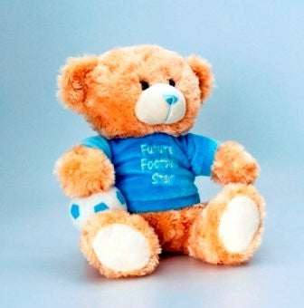 Deluxe Cuddles Bear 25cm Wearing T-Shirt - Future Football Star (SN3892) - hanrattycraftsgifts.co.uk
