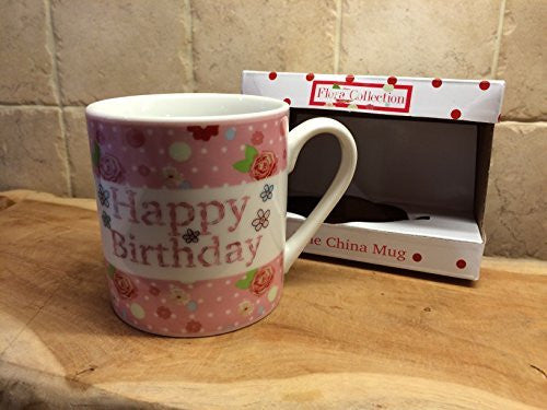 Porcelaine fine - Happy Birthday - Rose - hanrattycraftsgifts.co.uk