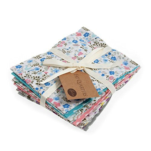 Fat Quarter Bundle: Cotton: 6 x 54cm x 45cm: Ditsy Butterfly - hanrattycraftsgifts.co.uk