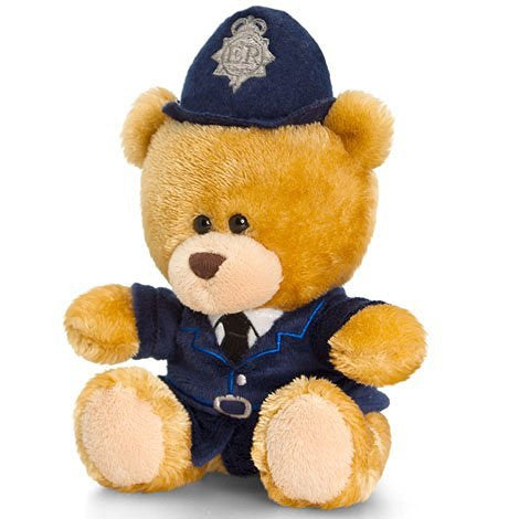 Keel Toys Pipp the policeman bear 14cm Beanie Cuddly Soft Toy Plush - hanrattycraftsgifts.co.uk