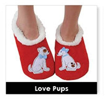 Splitz Snoozies Slippers ~ Feelin Foxy, Dachshund, Love Pups, Wine O'Clock, Night Owl & Mother Bird ~ 6 Style & 3 Ladies Size Options (SMALL UK 3-4, LOVE PUPS) - hanrattycraftsgifts.co.uk