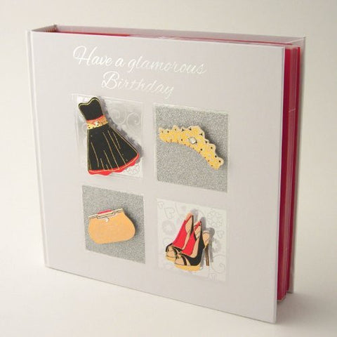 Happy Glamorous Birthday 3D Cover Photo Album in Gift Box. Coordinating Coloured Pages