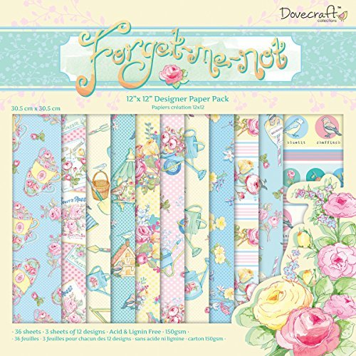 Helz Cuppleditch Forget Me Not 12 x 12 cm Paper Pack - hanrattycraftsgifts.co.uk