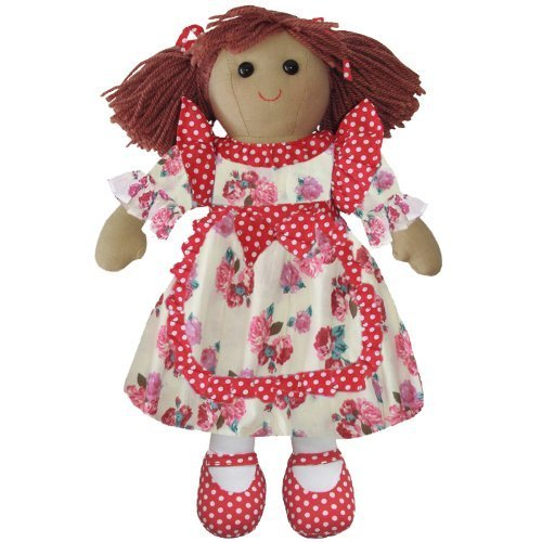 Rag Doll With Red Floral Dress - Handmade - Large 40cms - Powell Craft