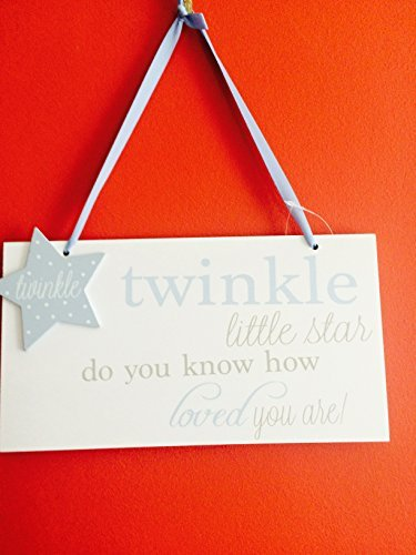 Blue Twinkle little star do you know how loved you are wooden hanging plaque - hanrattycraftsgifts.co.uk