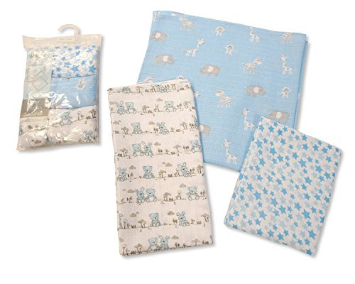 Printed Soft Baby Muslin Squares Pack of 3 (Blue) - hanrattycraftsgifts.co.uk