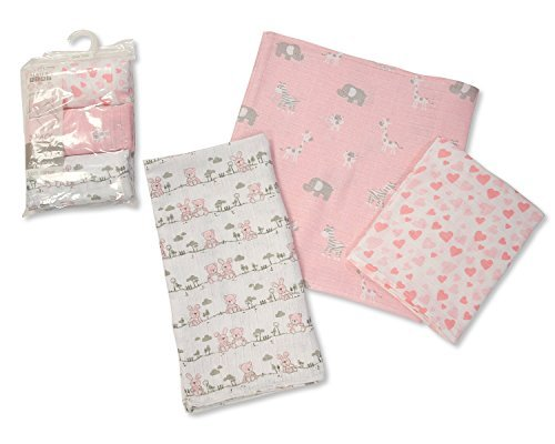 Printed Soft Baby Muslin Squares Pack of 3 (Pink) - hanrattycraftsgifts.co.uk