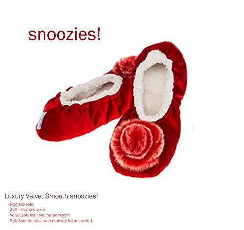 Luxury Deep Red Velvet Pom-Pom Snoozies Ballet Slippers - Ladies UK Sizes 3 to 7 (LARGE UK 6-7) - hanrattycraftsgifts.co.uk