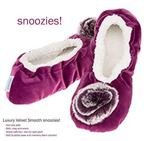 Luxury Purple Velvet Snoozies Ballet Slippers - Ladies (MEDIUM UK 5-6) - hanrattycraftsgifts.co.uk