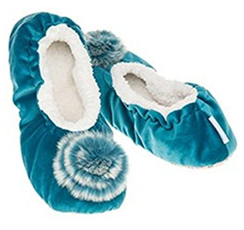 Luxury Teal Velvet  Fur effect  Pom-Pom Snoozies Ballet Slippers - Ladies UK Sizes 3 to 7 (LARGE UK 6-7)