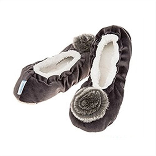 Luxury Deep Grey Velvet Real Fur effect   Pom-Pom Snoozies Ballet Slippers - Ladies UK Sizes 3 to 7 (MEDIUM UK 5-6) - hanrattycraftsgifts.co.uk