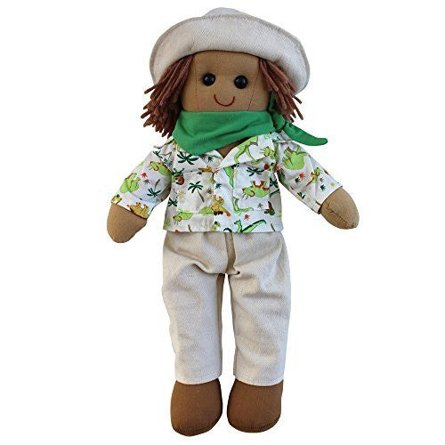 Dinosaur explorer rag doll with beige hat, green neckscarf and brown shoes. size 40cm. - hanrattycraftsgifts.co.uk