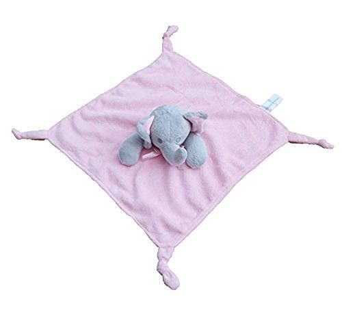 Gorgeous Pink Elephant Super soft Plush Velour Baby Comforter With Knotted Corners - hanrattycraftsgifts.co.uk