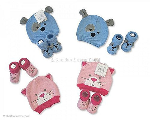 Nursery Time NT0683 100% cotton knitted set of Hat and Booties in Pink or Blue. Available for age 0-12 months (Blue)