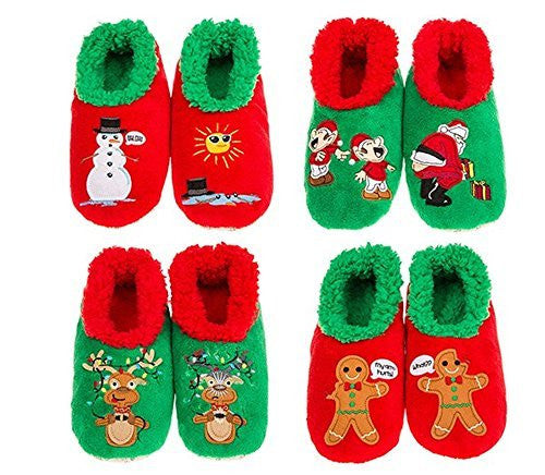 Christmas Splitz Snoozies Slippers ~ 4 Style & 3 Sizes (MEDIUM 5 - 6, DEER FRIENDS GRIS) - hanrattycraftsgifts.co.uk