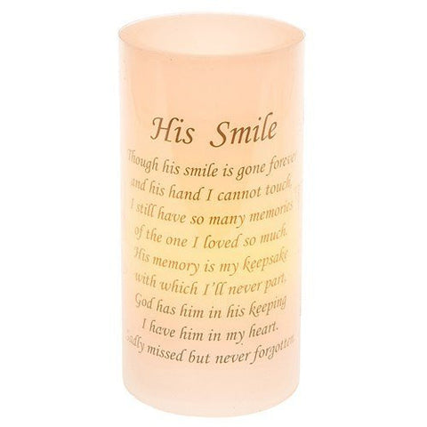His Smile Flickering Memorial LED Candle - hanrattycraftsgifts.co.uk