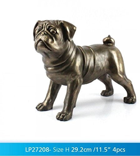 "Bronzed Pug Large 29.2cm / 11.5"" ornament figure ideal gift gift boxed - hanrattycraftsgifts.co.uk"