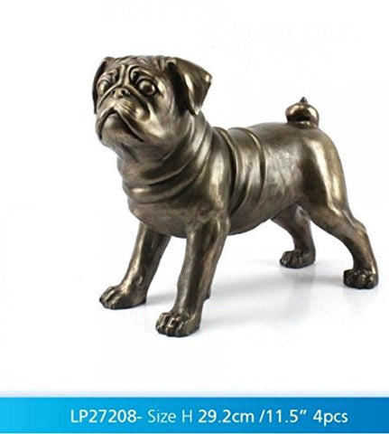 "Bronzed Pug Large 29.2cm / 11.5"" ornament figure ideal gift gift boxed"