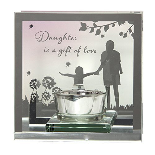 Daughter is a gift of love Reflections from the Heart Mirrored Tealight - hanrattycraftsgifts.co.uk