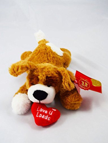 "Love You Loads Dog Teddy Brown Valentines Day Soft Toy Cuddly Gift Heart 8"" Cute - hanrattycraftsgifts.co.uk"