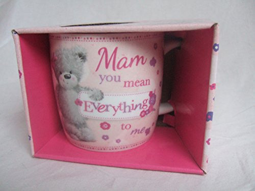 """MAM, You Mean Everything To Me"" Pink Teddy Bear Sentimental Mug with Presentation Box - hanrattycraftsgifts.co.uk"