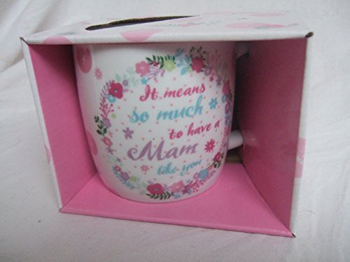 """It Means so Much to have a MAM Like You"" Bright Floral Sentimental Mug with Presentation Box - hanrattycraftsgifts.co.uk"
