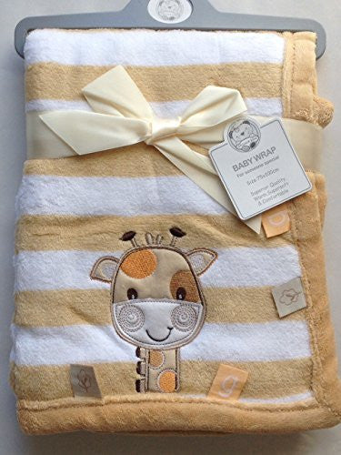 Beautiful Very Soft for Baby/Children's Blanket small beige yellow giraffe applique 75 x 100 cm - hanrattycraftsgifts.co.uk