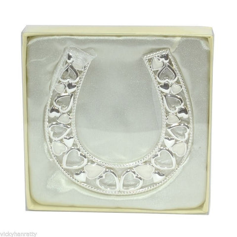 WEDDING GIFT - WEDDING HORSESHOE WITH HEARTS - 25943 - hanrattycraftsgifts.co.uk