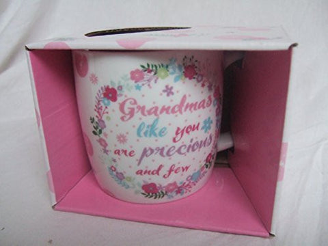 """Grandma's Like You Are Precious & Few"" Bright Floral Sentimental Mug with Presentation Box"