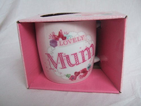 """Lovely Mum"" Pink Floral Butterfly Sentimental Mug with Presentation Box - hanrattycraftsgifts.co.uk"